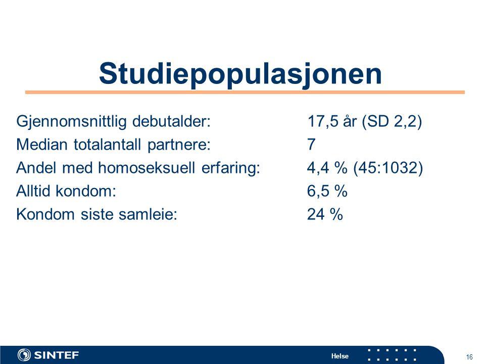 Studiepopulasjonen Gjennomsnittlig debutalder: 17,5 år (SD 2,2)