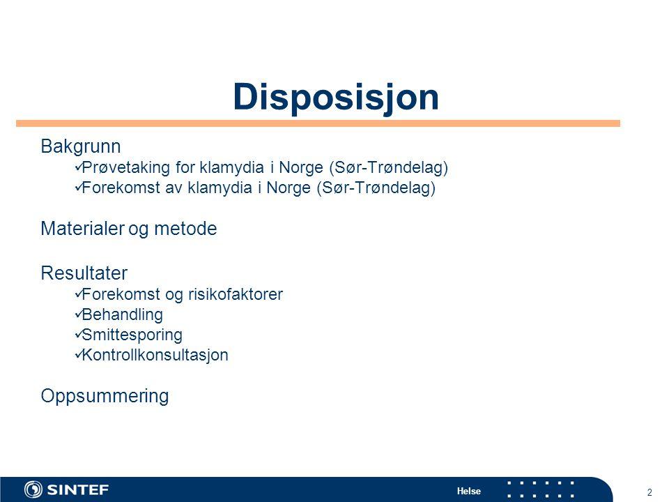 Disposisjon Bakgrunn Materialer og metode Resultater Oppsummering