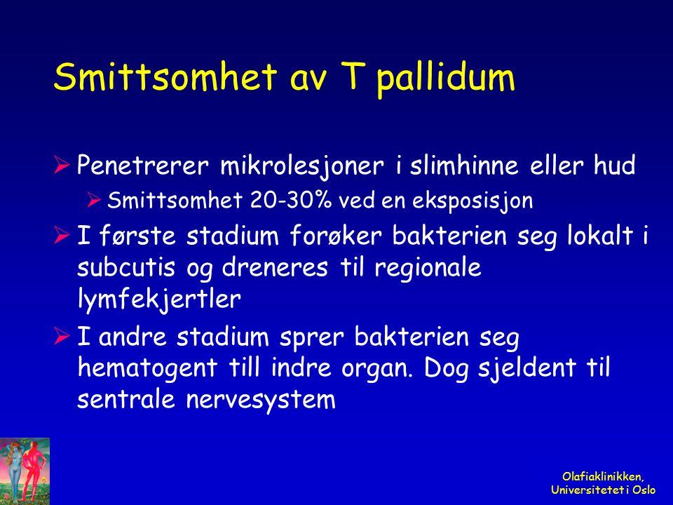 Smittsomhet av T pallidum