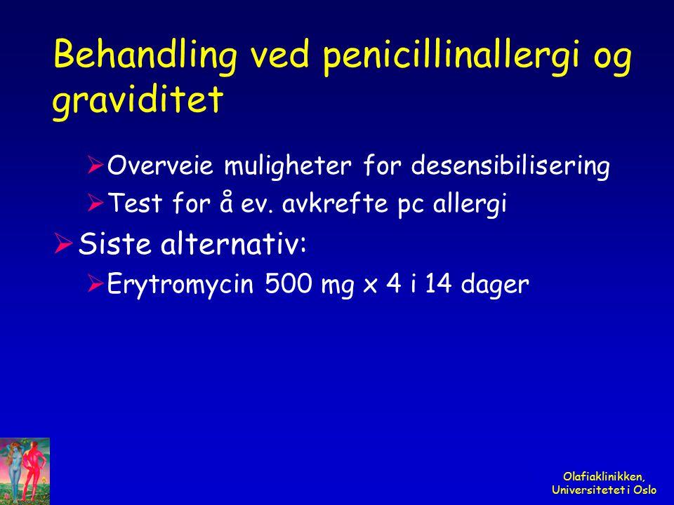 Behandling ved penicillinallergi og graviditet
