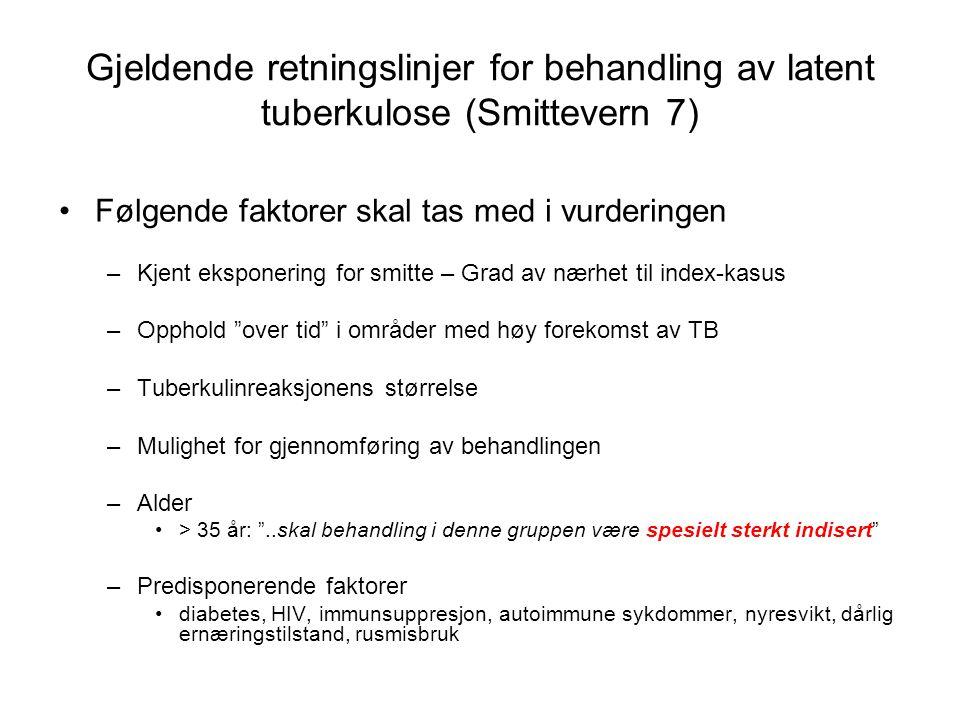 Gjeldende retningslinjer for behandling av latent tuberkulose (Smittevern 7)