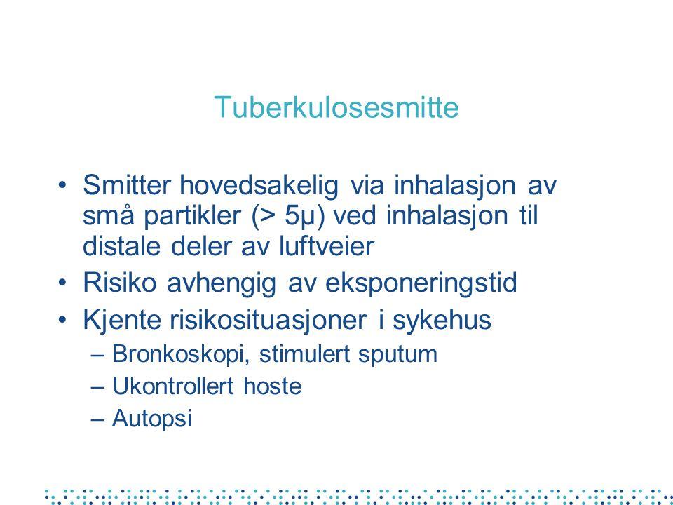 Tuberkulosesmitte Smitter hovedsakelig via inhalasjon av små partikler (> 5µ) ved inhalasjon til distale deler av luftveier.