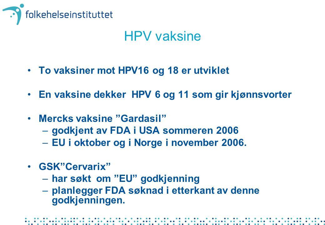 HPV vaksine To vaksiner mot HPV16 og 18 er utviklet