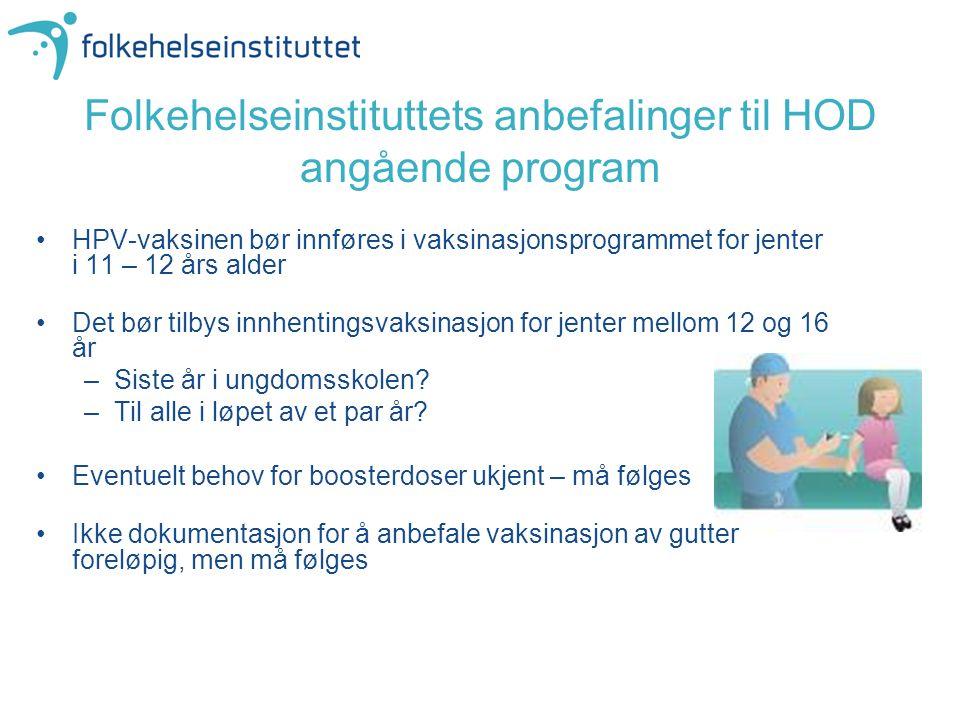 Folkehelseinstituttets anbefalinger til HOD angående program