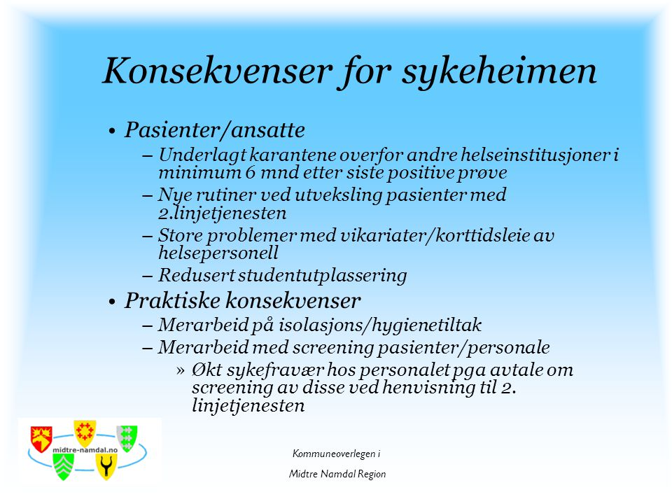 Konsekvenser for sykeheimen