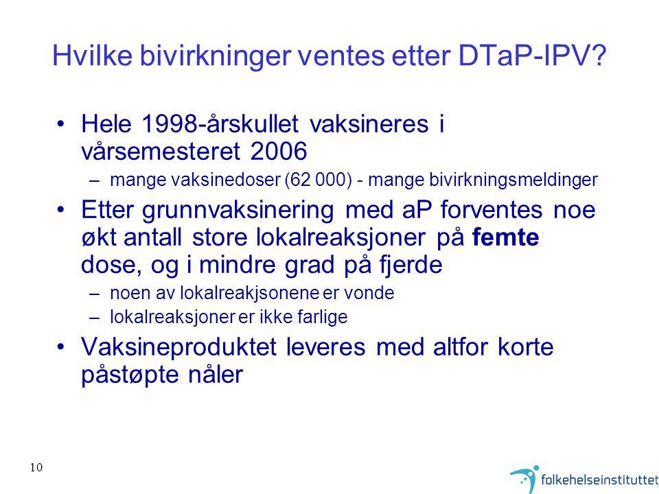 Hvilke bivirkninger ventes etter DTaP-IPV