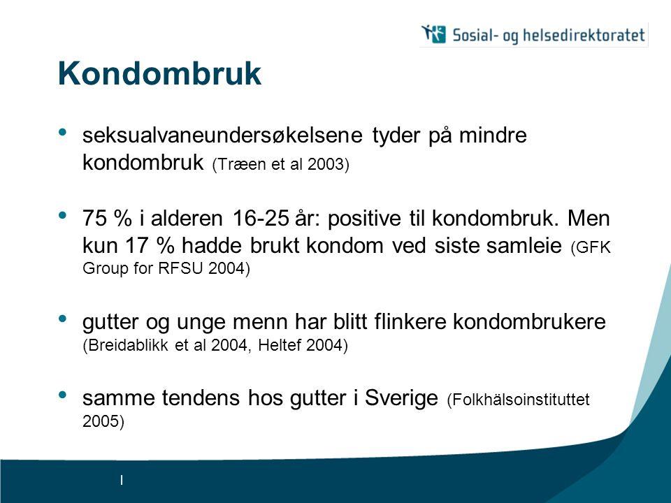 Kondombruk seksualvaneundersøkelsene tyder på mindre kondombruk (Træen et al 2003)