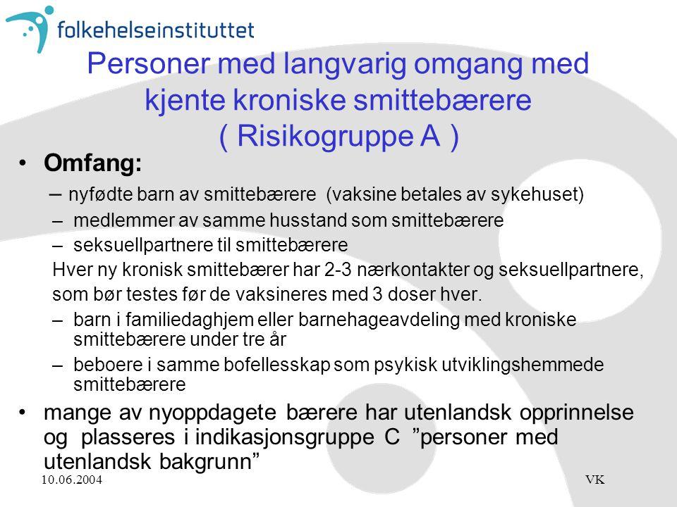 Personer med langvarig omgang med kjente kroniske smittebærere ( Risikogruppe A )
