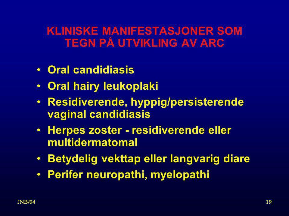 KLINISKE MANIFESTASJONER SOM TEGN PÅ UTVIKLING AV ARC
