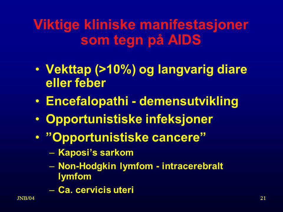 Viktige kliniske manifestasjoner som tegn på AIDS