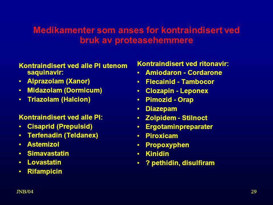 Medikamenter som anses for kontraindisert ved bruk av proteasehemmere