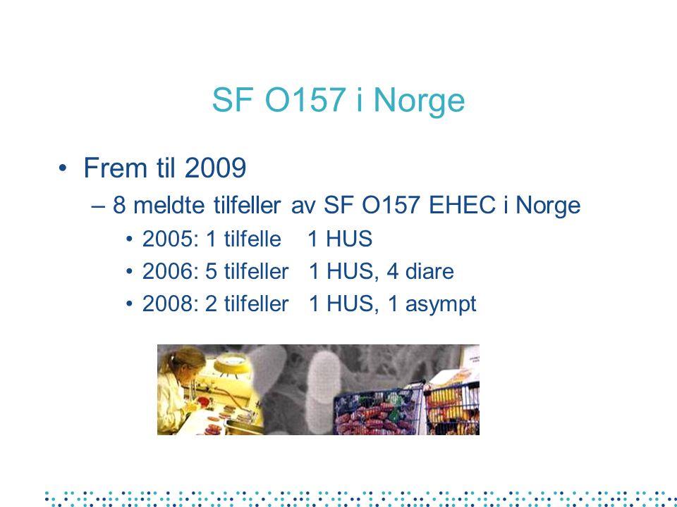 SF O157 i Norge Frem til 2009. 8 meldte tilfeller av SF O157 EHEC i Norge. 2005: 1 tilfelle 1 HUS.
