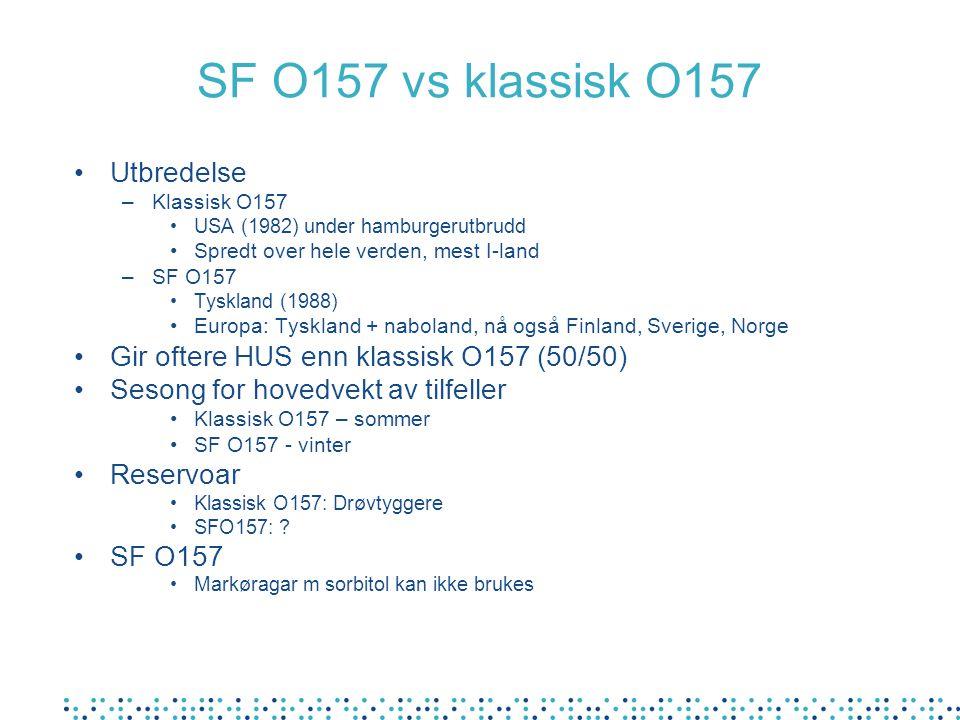 SF O157 vs klassisk O157 Utbredelse