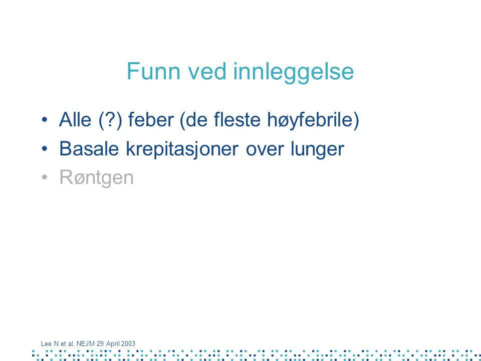 Funn ved innleggelse Alle ( ) feber (de fleste høyfebrile)