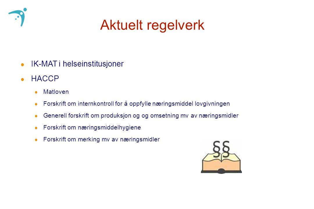 Aktuelt regelverk IK-MAT i helseinstitusjoner HACCP Matloven