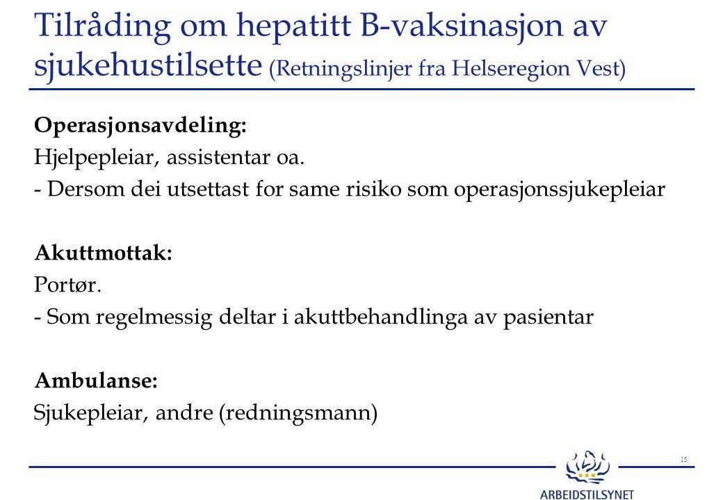 Tilråding om hepatitt B-vaksinasjon av sjukehustilsette (Retningslinjer fra Helseregion Vest)