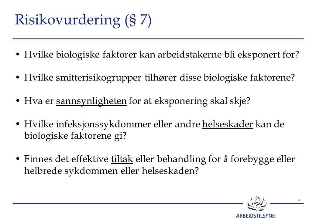 Risikovurdering (§ 7) Hvilke biologiske faktorer kan arbeidstakerne bli eksponert for
