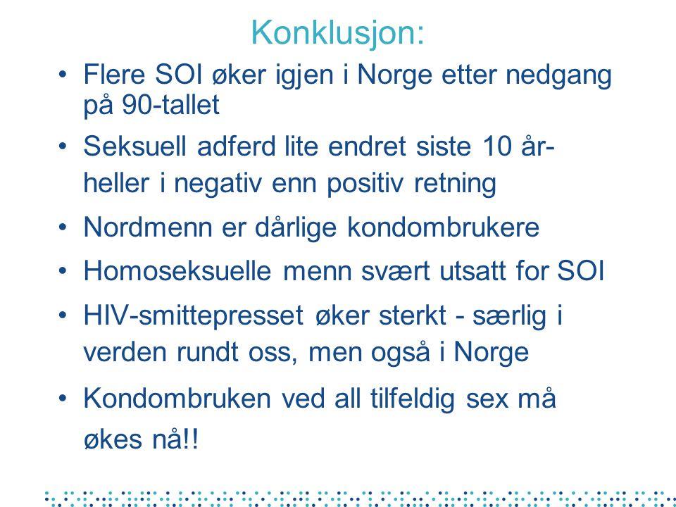 Konklusjon: Flere SOI øker igjen i Norge etter nedgang på 90-tallet