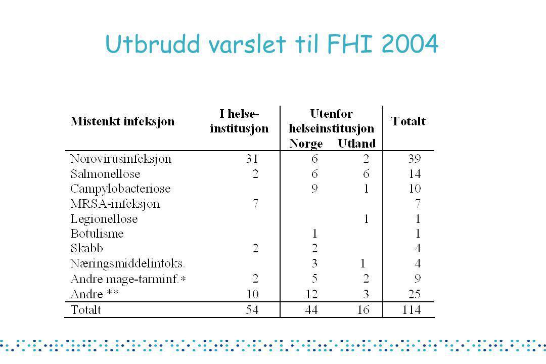 Utbrudd varslet til FHI 2004