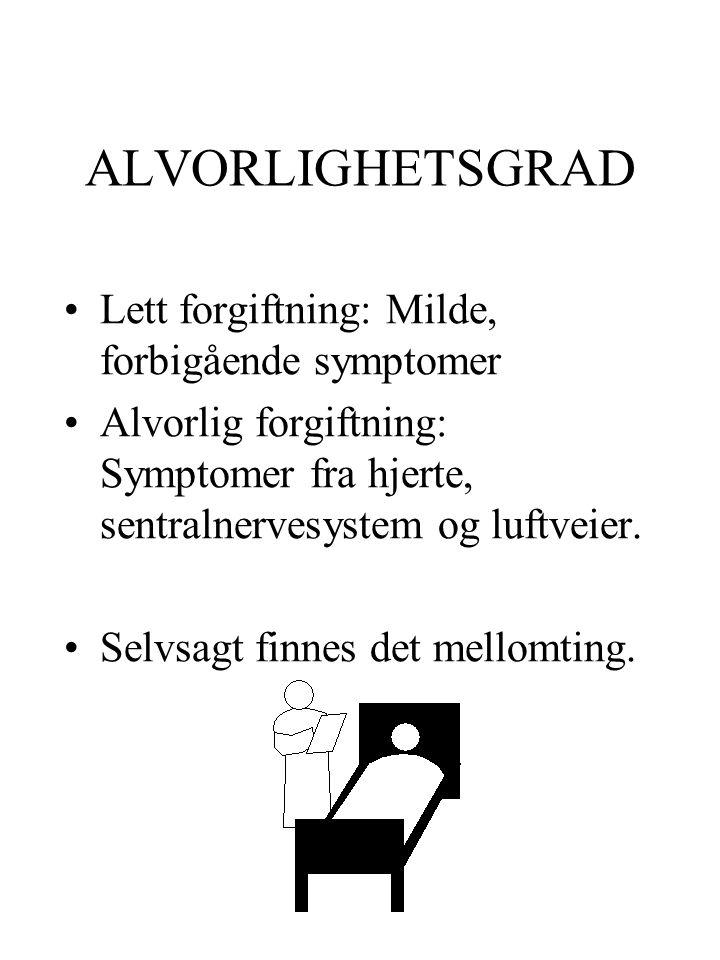 ALVORLIGHETSGRAD Lett forgiftning: Milde, forbigående symptomer