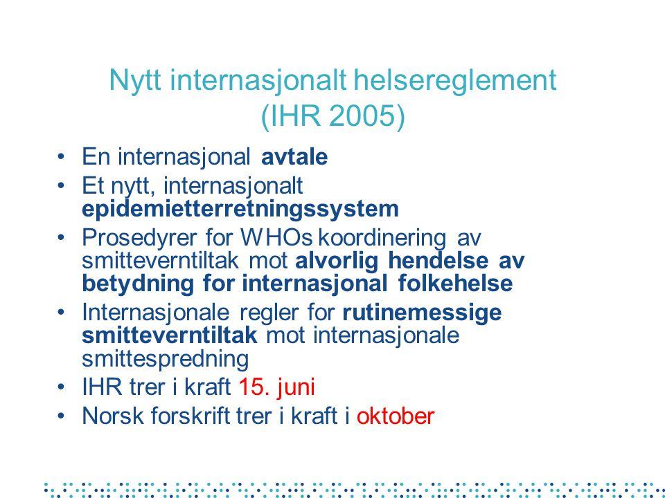 Nytt internasjonalt helsereglement (IHR 2005)