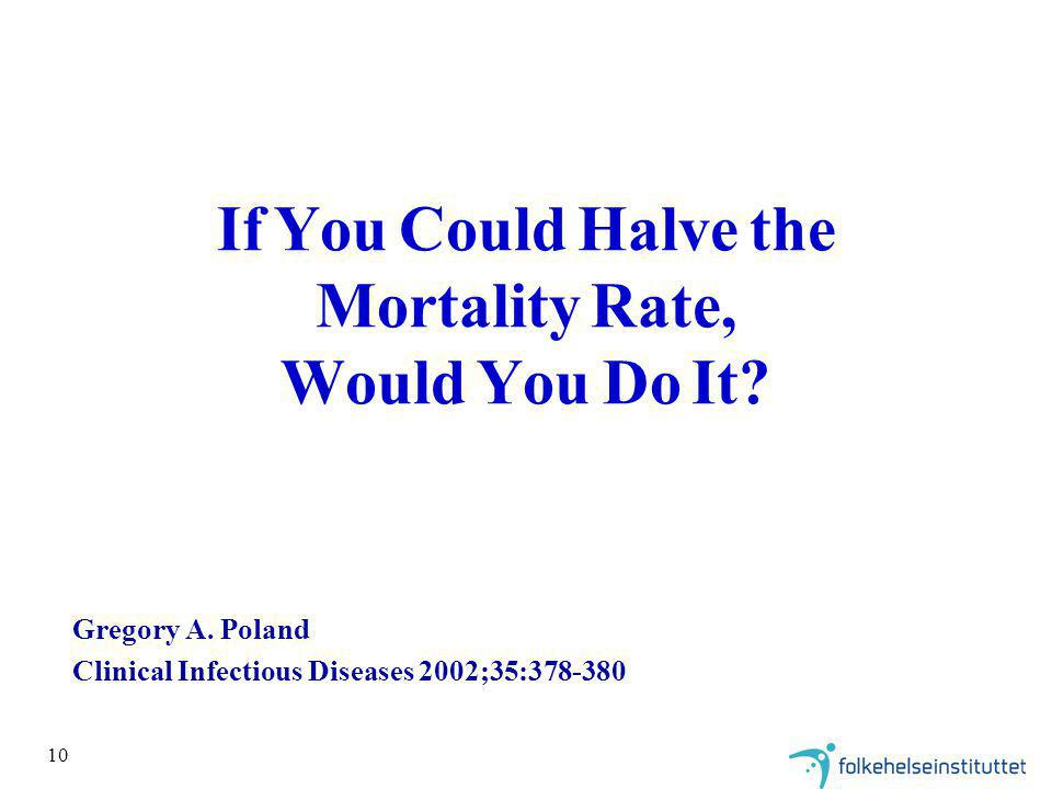 If You Could Halve the Mortality Rate, Would You Do It