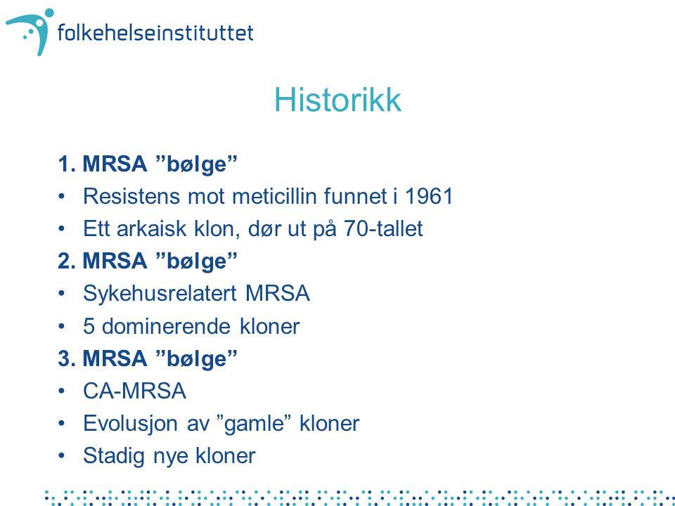 Historikk 1. MRSA bølge Resistens mot meticillin funnet i 1961