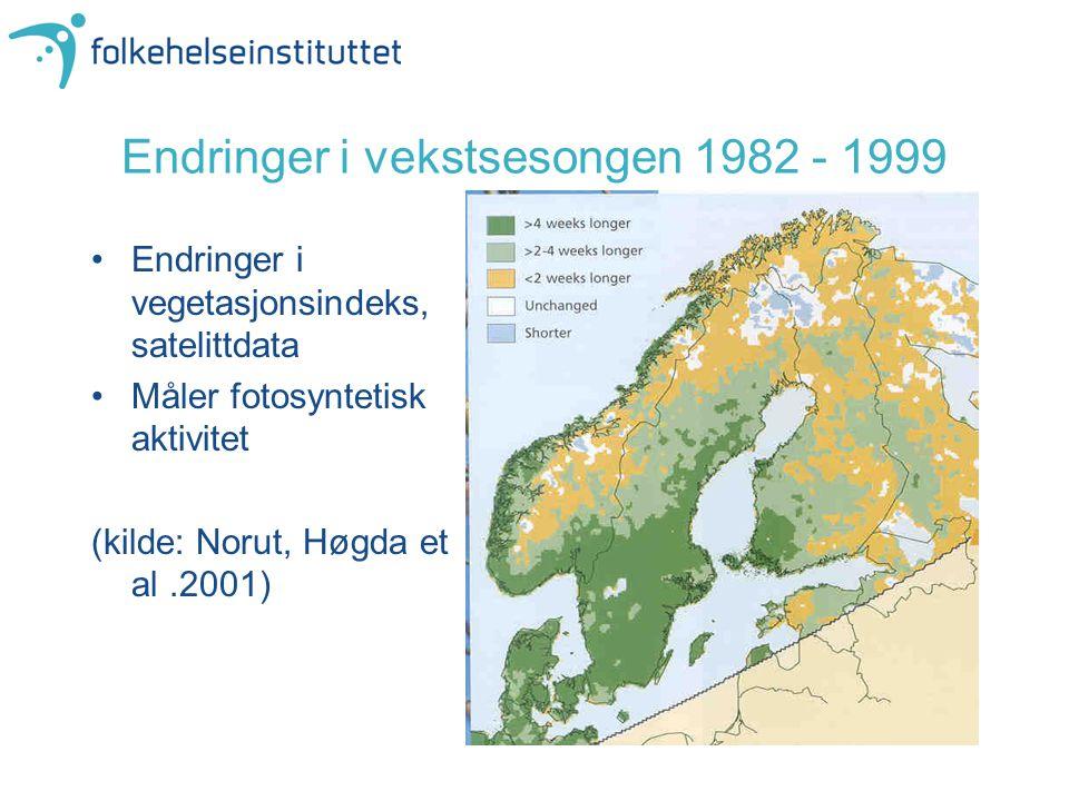 Endringer i vekstsesongen 1982 - 1999