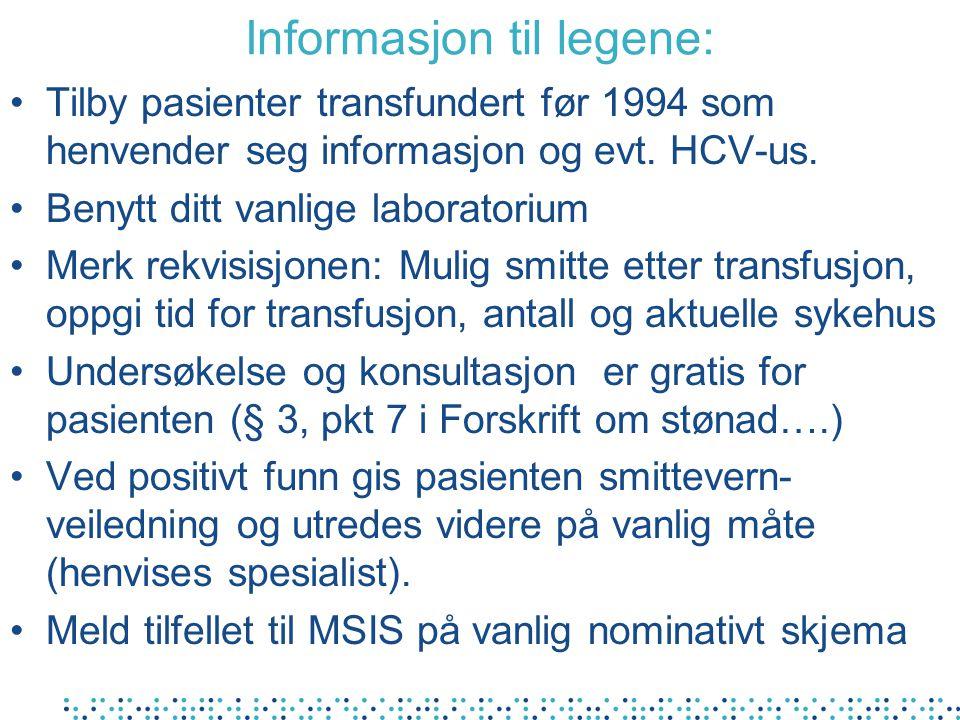 Informasjon til legene: