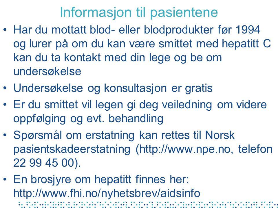 Informasjon til pasientene