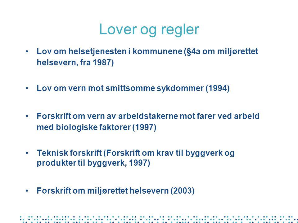 Lover og regler Lov om helsetjenesten i kommunene (§4a om miljørettet helsevern, fra 1987) Lov om vern mot smittsomme sykdommer (1994)