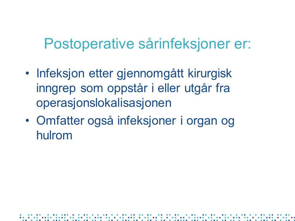 Postoperative sårinfeksjoner er:
