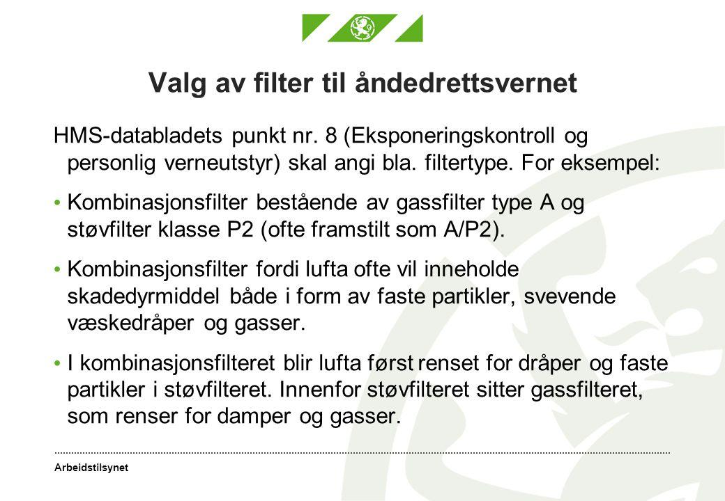 Valg av filter til åndedrettsvernet