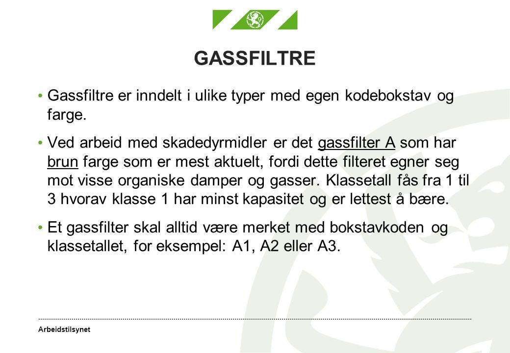 GASSFILTRE Gassfiltre er inndelt i ulike typer med egen kodebokstav og farge.