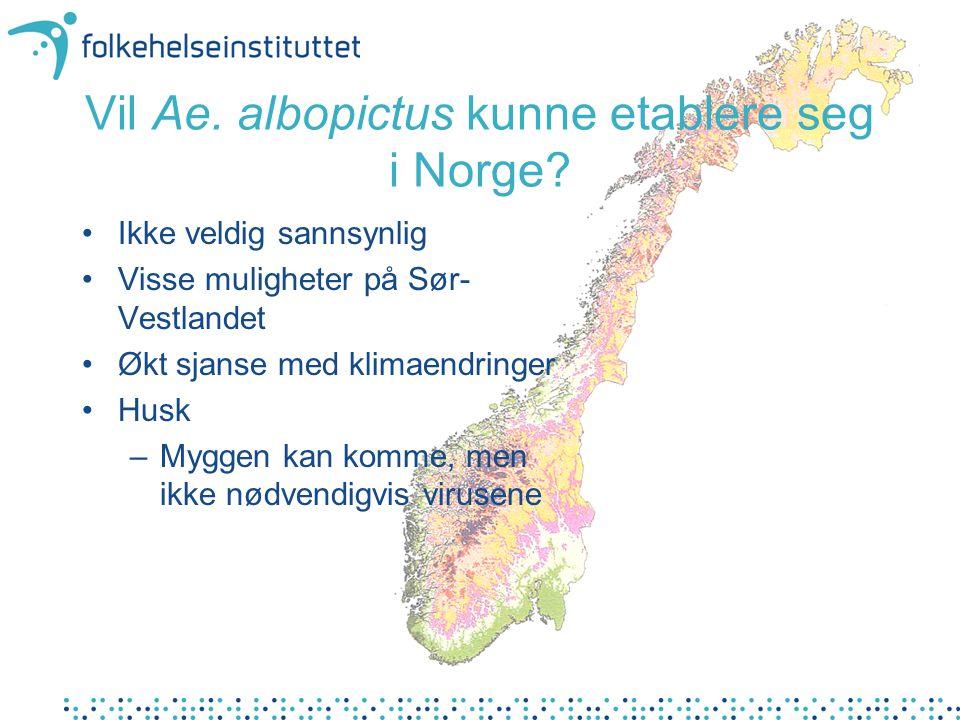 Vil Ae. albopictus kunne etablere seg i Norge