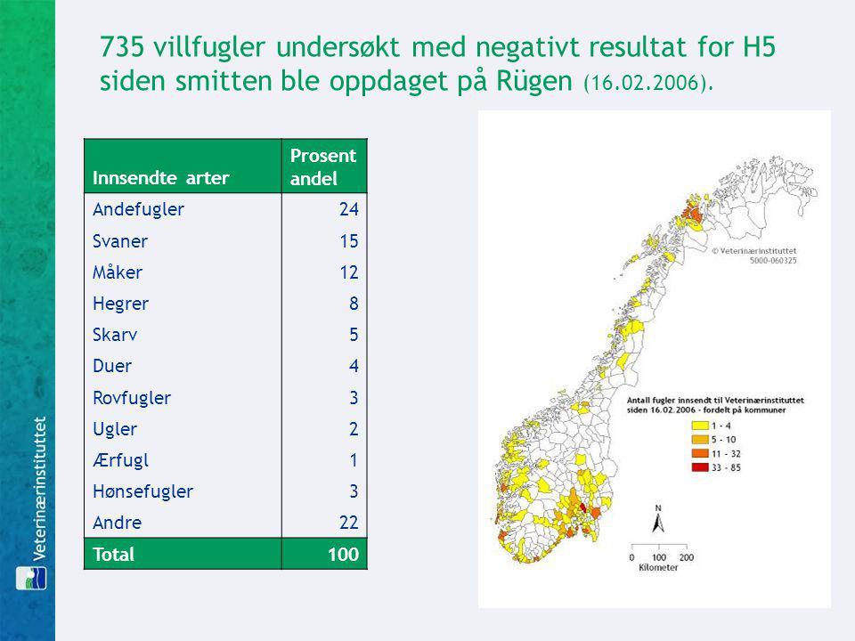 735 villfugler undersøkt med negativt resultat for H5 siden smitten ble oppdaget på Rügen (16.02.2006).