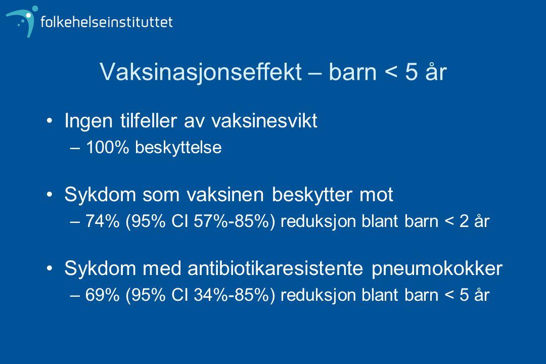Vaksinasjonseffekt – barn < 5 år
