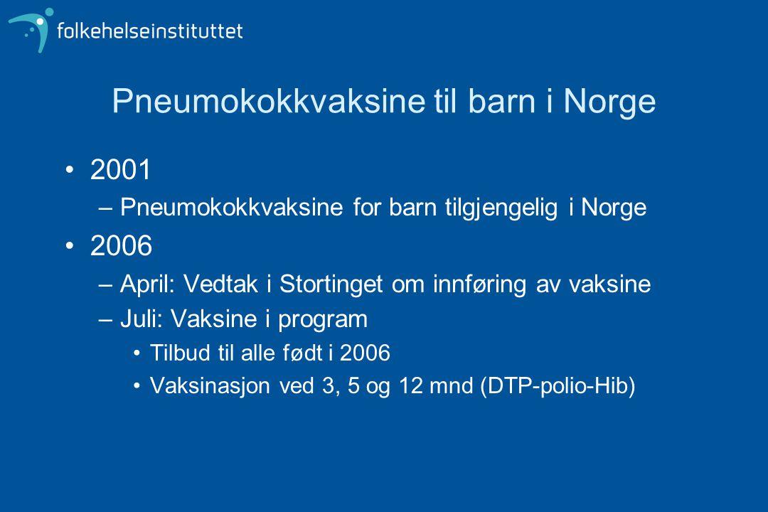 Pneumokokkvaksine til barn i Norge
