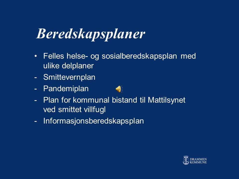 Beredskapsplaner Felles helse- og sosialberedskapsplan med ulike delplaner. Smittevernplan. Pandemiplan.