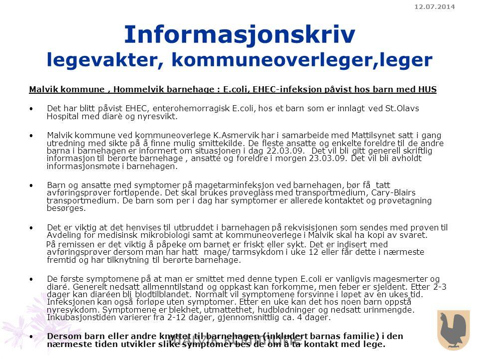Informasjonskriv legevakter, kommuneoverleger,leger