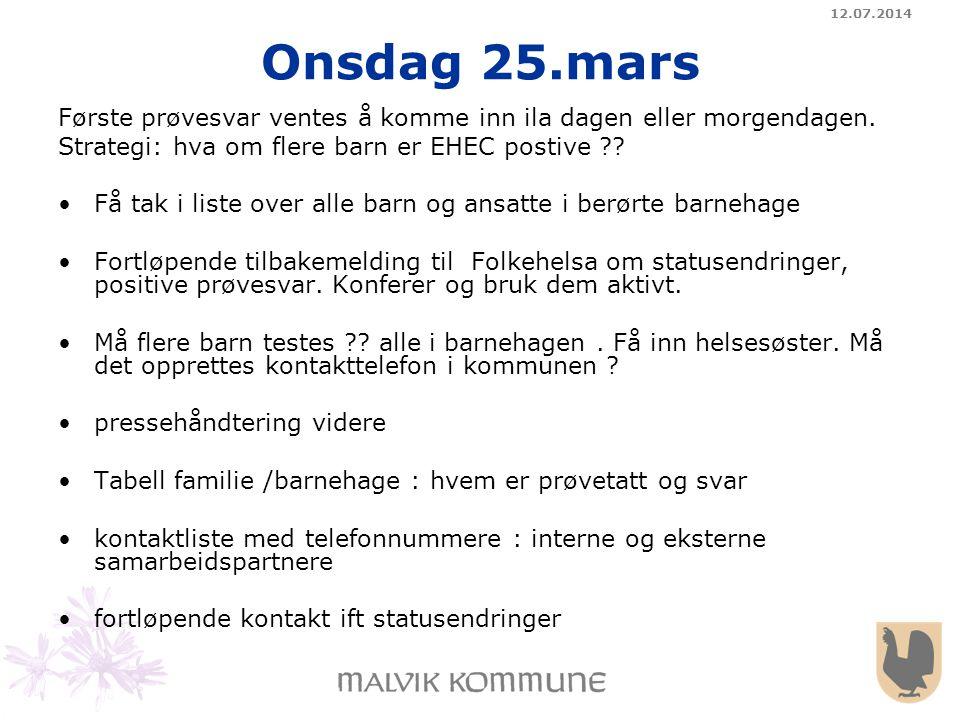 04.04.2017 Onsdag 25.mars. Første prøvesvar ventes å komme inn ila dagen eller morgendagen. Strategi: hva om flere barn er EHEC postive