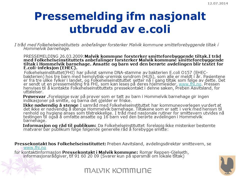 Pressemelding ifm nasjonalt utbrudd av e.coli