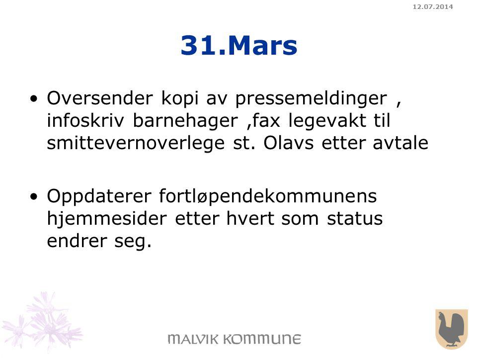 04.04.2017 31.Mars. Oversender kopi av pressemeldinger , infoskriv barnehager ,fax legevakt til smittevernoverlege st. Olavs etter avtale.