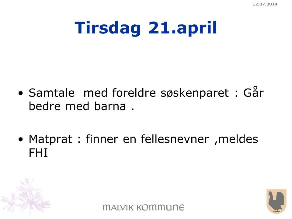 04.04.2017 Tirsdag 21.april. Samtale med foreldre søskenparet : Går bedre med barna .