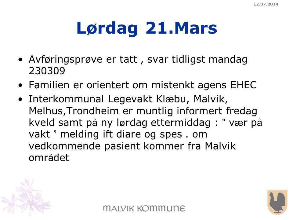 Lørdag 21.Mars Avføringsprøve er tatt , svar tidligst mandag 230309