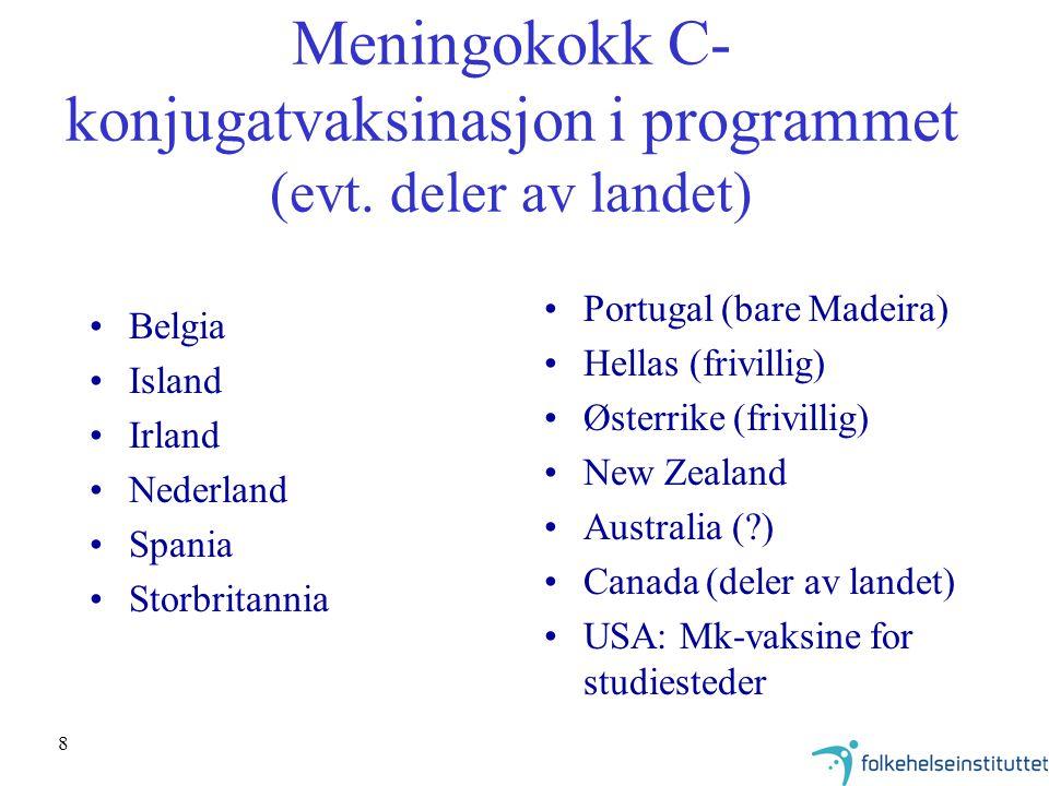Meningokokk C-konjugatvaksinasjon i programmet (evt. deler av landet)