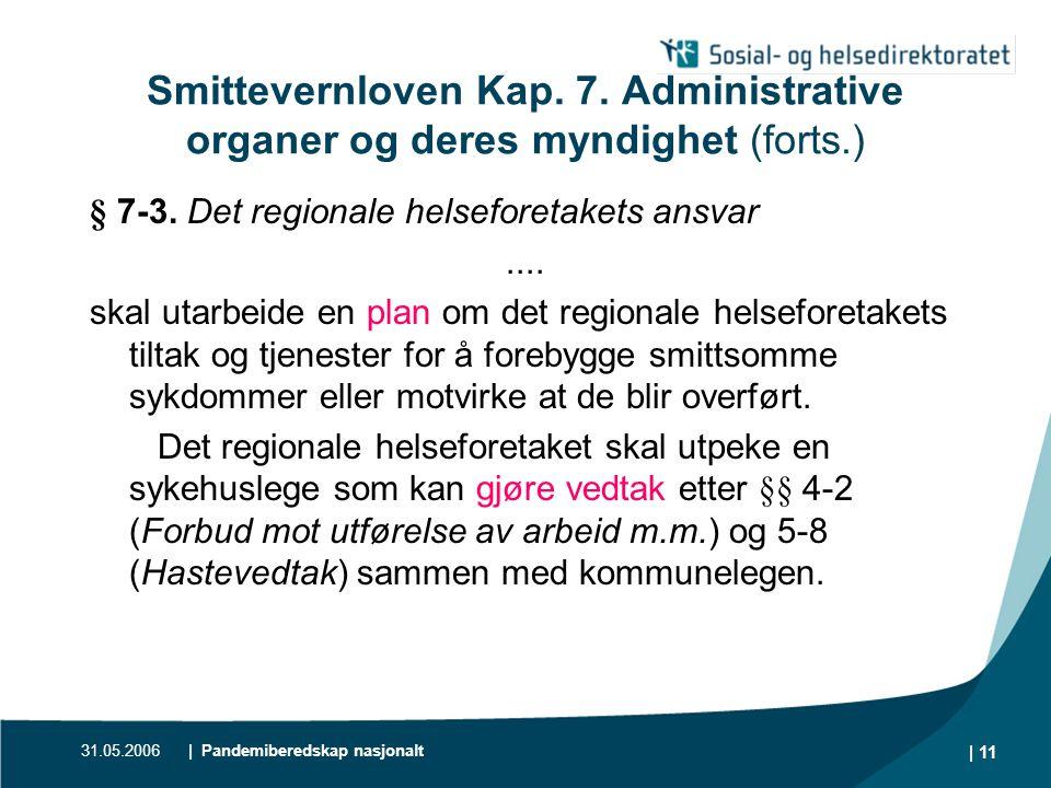 Smittevernloven Kap. 7. Administrative organer og deres myndighet (forts.)