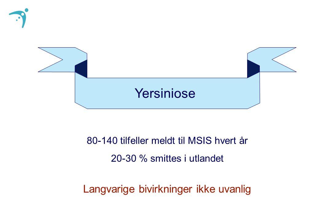80-140 tilfeller meldt til MSIS hvert år