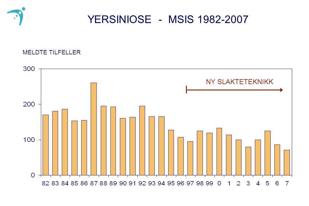 YERSINIOSE - MSIS 1982-2007 MELDTE TILFELLER NY SLAKTETEKNIKK