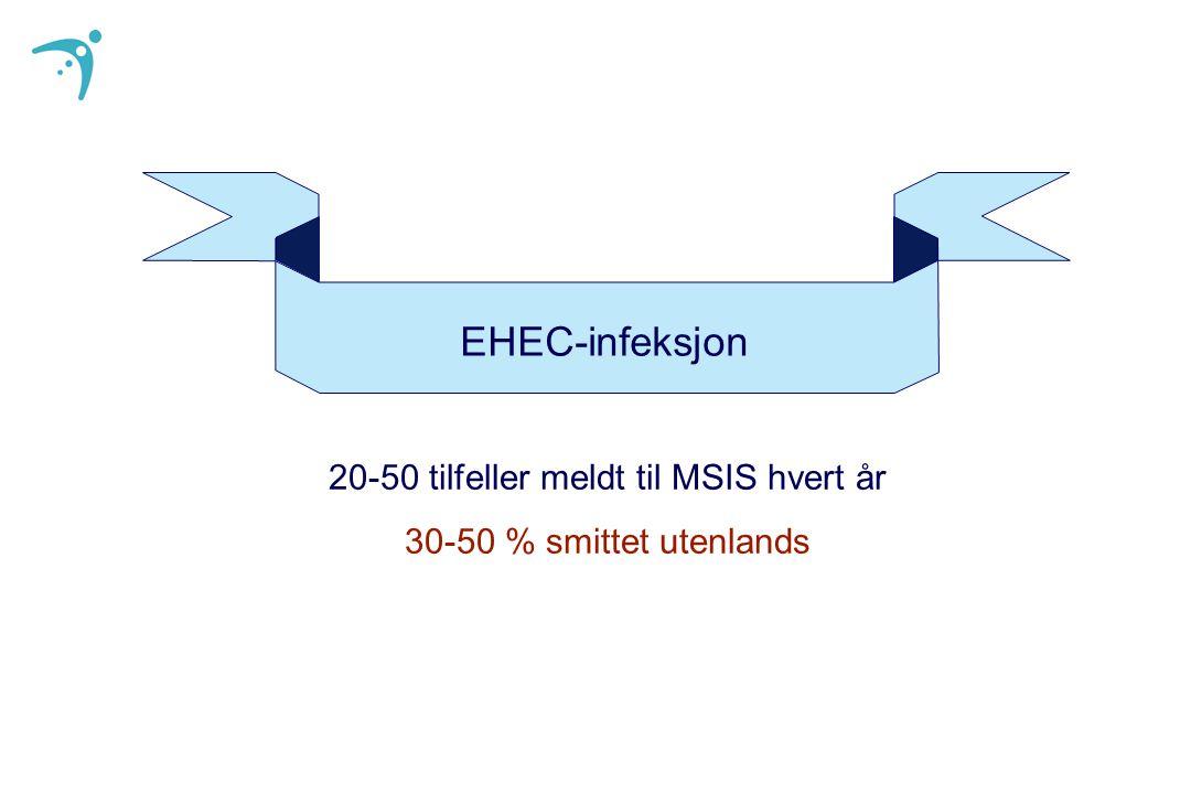 20-50 tilfeller meldt til MSIS hvert år